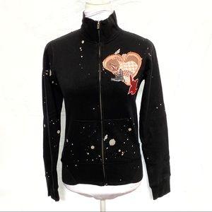 Volcom black zip up sweater birds gray paint dots